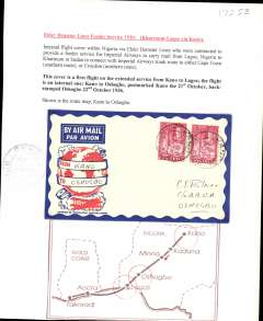 "(Nigeria) Inaugural West African Khartoum-Lagos Feeder Service, F/F Kano to Oshogbo, bs 22/10, attractive Philatelic magazine cover franked 2d, black four line ""Air Mail/First Despatch/Lagos-London/29-10-36"". Typed up on album page with map of route."
