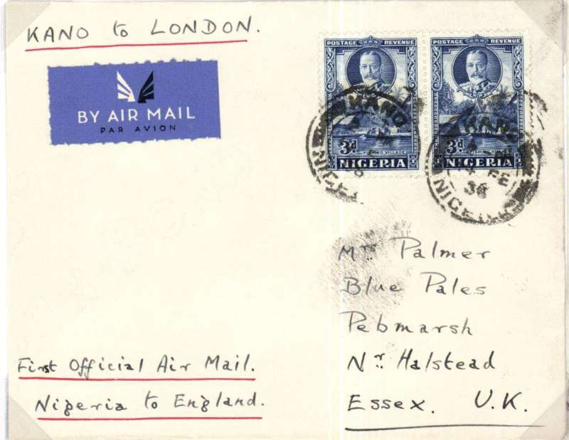 """(Nigeria) Inaugural West African Kano-Khartoum Elder Demster Feeder Service, also Imperial Airways F/F Kano to London, no arrival ds, plain cover franked 6d, ms """"First Official Air Mail/Nigeria to England"""". This was the first airmail service outside Nigeria."""