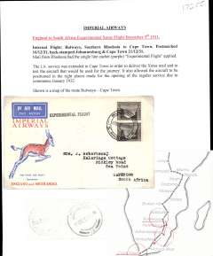"""(Southern Rhodesia) Bulawayo to Cape Town, bs 21/12, carried on Imperial Airways first England-South Africa experimental Christmas flight, Springbok souvenir cover franked 4d, black st line """"Experimental Flight"""" cachet. Written up on album leaf with map of route."""