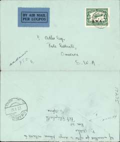 (South West Africa) South West Africa Airways, cover flown on the Windhoek to Omaruru leg, bs 23/1, of the Northern second provisional internal service, plain cover franked 4d air canc small Windhoek/Lugpos cds, blue/black airmail etiquette.