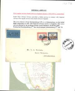 (South West Africa) South West Africa Airways F/F Keetmanshoop to Jo'burg, bs 27/1, first regular SWAA flight connecting with IAW Cape Town-Croydon service, plain cover franked 3d air & 1d, blue/black airmail etiquette. Typed up on album leaf.