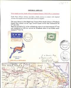 (South Africa) Imperial Airways/SWAA, Victoria West to Windhoek, double F/F cover carried by IAW from Victoria West-Kimberley, bs 27/1, on F/F Cape Town-London service, then by SWAA on the F/F Kimberley-Windhoek Feeder Service. Souvenir Springbok cover franked 4d air. Typed up on album leaf with map of route.