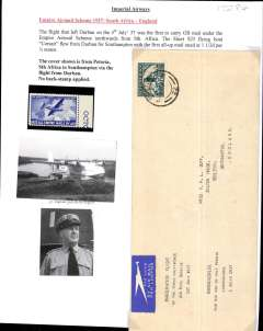 """(South Africa) Imperial Airways, F/F First Stage EAMS, Pretoria to London, no arrival ds, plain etiquette cover, 22x10cm, franked 1 1/d, typed bilingual endorsement """"Inauguration Flight/of the Three Half-Pence/Air Mail Service/1st July 1937"""". Typed up on album leaf with unused blue/white vignette showing an Imperial Airways Flying Boat and """"1937 All Empire Mails By Air""""."""