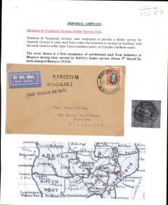 "(Southern Rhodesia) RANA, F/F Salisbury to Blantyre, bs 9/3, plain cover etiquette franked 4d, violet straight line ""First Official Air Mail"" and black two line ""S Rhodesia Nyasaland"" cachets. Typed up on album page with map of route."