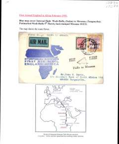 "(Sudan) Imperial Airways England-East Africa service, F/F Wadi Halfa to Mwanza (Tanganyika), b3 10/3, souvenir blue/white 'map' cover franked 2P10m, black ""First Flight/Halfa to Mwanza"" biplane flight cachet. Typed up on album page with map of route."