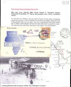 "(Sudan) Imperial Airways England-East Africa service, F/F Assuan to Alexandria, bs Cairo 14/3, souvenir blue/white 'map' cover franked 2P,  violet ""First Flight/Halfa to London"" biplane flight cachet.. Typed up on album page with map of route and picture (not photo) of 'City of Wellington'."