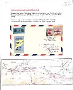 (Sudan) Imperial Airways England-East Africa service, F/F Khartoum to London, no arrival ds, airmail etiquette cover, franked 2P10m, black/pale blue/yellow 'Give Your Letter Wings/Use Air Mail' vignette. Typed up on album page with map of route.