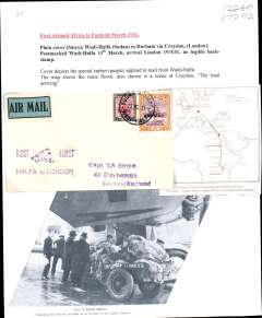 "(Sudan) Imperial Airways England-East Africa service, F/F Wadi Halfa to London, no arrival ds, plain 'Smye' cover, frankd 2P10, violet ""First Flight/Halfa to London"" biplane flight cachet, back/white/greem blue etiquette. Typed up on album page with map of route and picture (not photo) of African airmail being unloaded on arrival at London Airport'."
