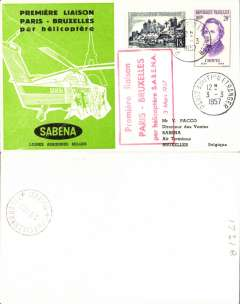 (Helicopter) France, Sabena first helicopter flight, Paris to Brussels, bs 3/3, special cancellation, black/green/white printed souvenir cover franked 38F, canc Paris Aviation Etrangers cds.