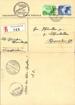 (Liechtenstein) Masescha to Schaan glider flight, bs 21/4, registered (label) card franked 50R & 30R 1939 airs, canc Triesenberg 21/4/46 cds, special black circular flight cachet. Flown mail collected and postmarked in Triesenberg on 21/4, and back stamped at Schaan Airport later that day.