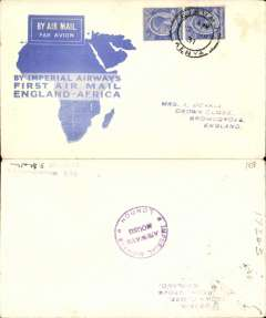 (Kenya) Imperial Airways F/F Kisumu to London, Imperial Airways/Airways House/London receiver verso, flown on first return Engand-East Africa service, official blue/white 'map' cover, franked 60c.