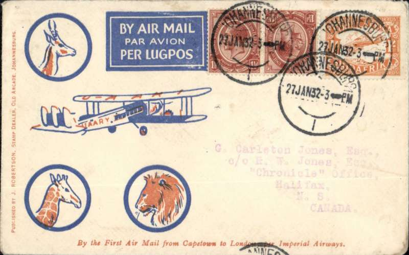 (South Africa) Imperial Airways first acceptance of mail from South Africa for Canada for carriage on the inaugural Cape Town-London service, Cape Town to Halifax, no arrival ds, scarcer blue/orange/cream Robertson souvenir cover, franked 1/3d, red double bar Jusqu'a to indicate termination of flight in London, carried by air from Cape-London, then surface to destination.