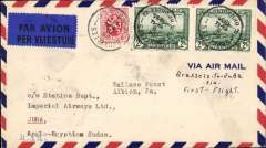 (Belgium) Imperial Airways, intended Belgium acceptance for Sudan for carriage on the first London-East Africa service, however this cover caught the second flight arriving Juba, 14/3, via Cairo 11/3, airmail cover franked 1930 2d air x2, 25c ordinary, canc Brussels cds, Imperial AW/Airways House/London hs verso.