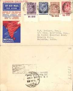 "(GB External) First regular service London to Calcutta, b/s 9/7, boxed rectangular ""Karachi-Calcutta"" arrival cachet verso, official red/white/blue cover, Imperial Airways/India Trans-Continental Airways franked KGV 1d, 1 1/2d & 3d each with control number, and 2 1/2d ordinary, red straight line ""London-Calcutta"" hs."