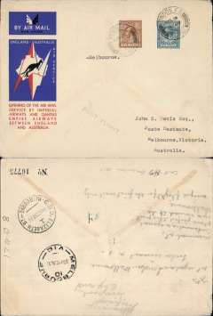 (GB External) Imperial Airways/Qantas, London to Melbourne, bs 22/12, carried on F/F extension of London-Singapore service to Australia, correctly rated 1/3d, canc London FS cds, red/white/blue official Imperial Airways/Qantas 'Kangaroo' cover.