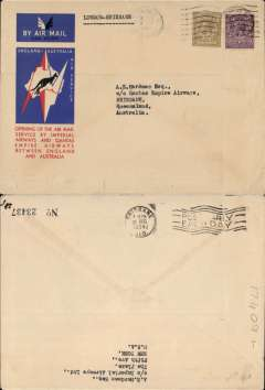 (GB External) Imperial Airways/Qantas, London to Brisbane, bs 21/12, carried on F/F extension of London-Singapore service to Australia, correctly rated 1/3d, canc London Air mail cds, red/white/blue official Imperial Airways/Qantas 'Kangaroo' cover.