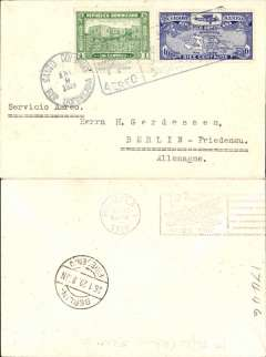 (Dominican Republic) First acceptance for Germany, Santo Domingo to Berlin, bs 26/1, carried on FAM 6 F/F Santo Domingo to Miami, bs 10/1, plain cover franked 11c canc Santo Domingo cds and boxed airmail F/F cachet.