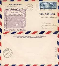 (Bermuda) Pan Am F/F FAM 17, inward to Hamilton, (from Baltimore US), bs 18/3 , b/s, large violet flight cachet, air cover.