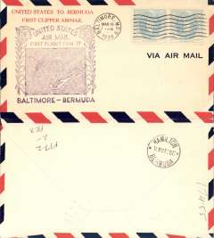 (United States) Pan Am F/F FAM 17, Baltimore to Hamilton, bs 18/3, large violet flight cachet, airmail cover.