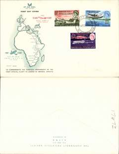 (Rhodesia and Nyasaland) BOAC Comet 4 flight, Kitwe to London, no arrival ds, to commemorate the 30th anniversary of the London-Rhodesia airmail service, red/green/cream souvenir cover with map of rote, franked FDI 30th anniversary set of 3, canc Kitwe cds.