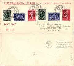 (Belgium) Sabena Cipex special flight, Brussels to New York, b/s, franked Emile Vandervelde set x2 overprinted for airmail use, special depart cachet, souvenir cover, 21x9cm.