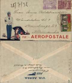 "(Brazil) Compagnie Generale Aeropostale, Rio de Janeiro to Hamburg, no arrival ds, dark blue/red/light grey 'Via Panair/Pan American Airways System' company cover with picture of uniformed steward and passengers boarding in lower lh corner cover and dark blue winged 'Via Aerea/PAA' logo on flap, franked 3000R air & 700R, 500R ordinary, canc 'Correo Aereo/Porto Alegre' cds,  along bottom front edge large bold red/white ""Por Aeropostale"" label covering  'Via Panair/Pan American Airways System' Nice item."