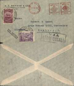 "(Brazil) Compagnie Generale Aeropostale, commercial air cover from AJ Renner & Cia to Hamburg, no arrival ds, printed pale grey cover franked red 500R & 200R machine cancel with additional 3000R air & 500R ordinary, fine strike uncommon black framed ""Via/Aeropostale"" cachet."