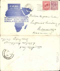 (GB External) Imperial Airways F/F London to Kisumu, bs 10/3, flown on inaugural England-East Africa service, blue/white souvenir 'Map' cover, correctly rated 7d, violet circular 'Imperial Airways/House/London' hs. Mounted on album leaf with map of route.