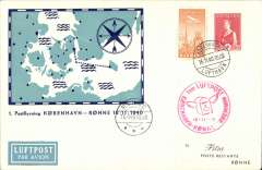 (Denmark) DDL F/F Copenhagen to Ronne, 16/11 arrival ds on front, attractive pale blue/dark blue/cream souvenir cover, franked 10c air & 15+5c Red Cross ordinary, canc Copenhagen cds, red circular flight cachet.