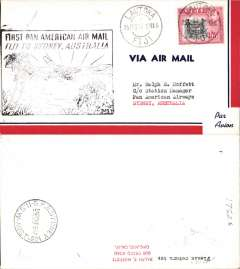 (Fiji) First Clipper flight, FAM 19, Suva to Sydney, bs 26/2, airmail cover franked 1/5d, canc Lautoka cds, large black framed cachet, Pan Am.