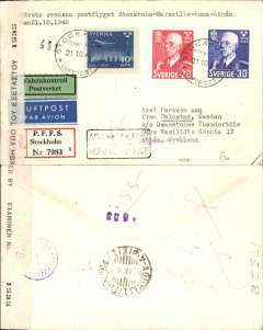 (Sweden) Early post war censored airmail, ABA F/F Stockholm to Athens, bs, via Marseille and Rome, registered (label)  cover franked 20o & 30o and 10o air, canc Stockholm cds, sealed uncommon black/white censor tape with Greek text, and English '(Open)ed By Examiner No  1535, and tied by violet dr ? Greek censor mark.