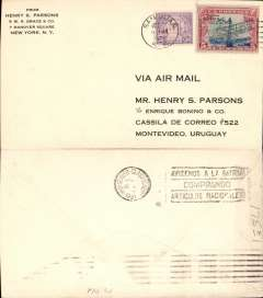 (Puerto Rico) Pan Am FAM6 F/F San Juan to Montevideo, bs 1/11, Henry Parsons corner cover franked  50c & 5c air, canc San Juan cds, no cachet on this leg.