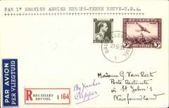 (Belgium) First Belgium acceptance for Newfoundland, bs Botwood 1/7, for carriage on Pan American F/F 'northern' trans Atlantic route Southampton-Botwood. Plain registered (label) cover franked 5F air + 75c, 35c ordinary, canc Bruxelles 27/6 cds, ms 'By Yankee Clipper', Scarce.