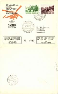 (Helicopter) Sabena, first helicopter flight, Brussels to Rotterdam, bs 8/8, special postmark, printed black/orange/cream souvenir envelope.
