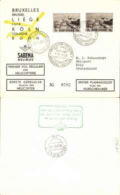 (Helicopter) Sabena, first helicopter flight, Brussels to Koln, bs 15/9, special postmark, green framed F/F cachet verso, printed black/yellow/cream souvenir envelope.