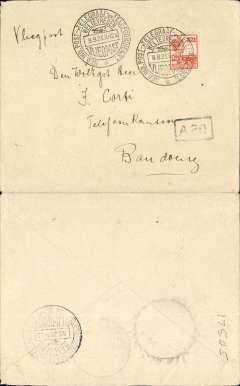 "(Netherlands East Indies) KNILM, Weltevreden to Bandoeing regular service flight, bs large circular Bandoeing/8.8.23/Vliegpost arrival ds, plain cover franked 1922 12 1/2c on 22 1/2c orange, canc large circular Weltevredin/8.8.23/Vliegpost cds, ms 'Vliegpost, black boxed ""A 20"" hs."