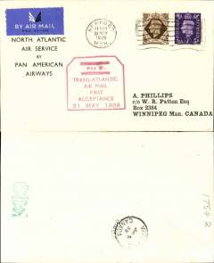 "(GB External) First GB acceptance for Canada, bs Winnipeg 4/6, carried on F/F Pan Am Southern route North Atlantic Service to New York, printed ""North Atlantic/Air Service/by/Pan American/Airways"" souvenir cover, franked 1/3d cancelled Newport cds, red hexagonal boxed ""Trans-Atlantic/Air Mail/Fist/Acceptance/31 May 1939"" cachet, airmail etiquette."