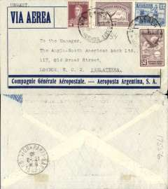 (Argentina) Early Compagnie Generale Aeropostale Aviso service(1/3/28-31/12/35) using fast ex navy destroyers (9 day transit France-S. America, of which 5 days were at sea), Buenos Aires to London (no arrival b/s as is usual with UK mail), Paris 12/2/30 transit cds, special dark blue/pale grey Compagnie Generale Aeropostale/Aeropostal Argentina S.A. imprint etiquette airmail envelope, franked Sc. 327, 373 and C12 and C14, canc Buenos Aires cds (date illegible). Flown Buenos Aires-Natal by Aeropostale Aeropostal Argentina S.A, then carried  by fast Aviso from Natal-Dakar, then flown Dakar-Toulouse by Aיropostale (this service started in 1925). Please note the date of postage is illegible.