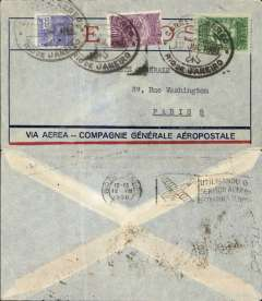 (Brazil) Early Compagnie Generale Aeropostale aviso service(1/3/28-31/12/35) using fast ex navy destroyers (9 day transit France-S. America, of which 5 days were at sea), Rio de Janero to Paris, no arrival ds, red/blue/pale grey Compagnie Gיnיrale Aיropostale special envelope franked Sc. 254, C20 and C22, canc nice strike large black oval double ring ds with outline of monoplane (used by Aeropostale on their Buenos Aires-Natal-Dakar service, illustrated Kriebel pp11,12,13). Flown Buenos Aires-Natal by Aeropostale Aeroposta Argentina S.A, then carried  by fast aviso from Natal-Dakar, then flown Dakar-Toulouse by Aיropostale (this service started in 1925). Ironed vertical crease.