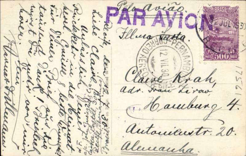 (Brazil) COMPAGNIE GENERALE AEROPOSTALE AVISO SERVICE Pernambuco to Hamburg, via Recife 12/7, colour PPC of Pernambuco Congresso franked Sc. 250, C20 (verso), and C21 (2), canc Pernambuco cds, large violet 'Par Avion' hs, partial strike violet framed 'Correo Aereo/Linhas C.G.A.' back stamp, illustrated Kriebel p12. Flown Buenos Aires-Natal by Aeropostale Aeropostal Argentina S.A, then carried  by fast Aviso from Natal-Dakar, then flown Dakar-Toulouse by Aיropostale (this service started in 1925).