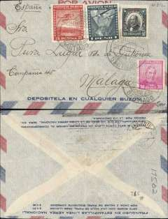 (Chile) Chile to Spain, Air France aviso service(1/3/28-31/12/35) using fast ex navy destroyers (9 day transit France-S. America, of which 5 days were at sea), Santiago to Malaga, bs Alicante machine cancel, imprint airmail etiquette cover franked Sc. 185, C19, C39 and C43, canc Santiago cds. Flown over the Andes to Buenos Aires and on to Natal by Aeropostale Aeroposta Argentina S.A, then carried  by fast aviso from Natal-Dakar, then flown Dakar-Toulouse by Aיropostale (this service started in 1925). 3mm non invasive trim along top edge.