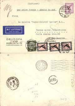 """(Germany) Germany to Agentina, Air France aviso service(1/3/28-31/12/35) using fast ex navy destroyers (9 day transit France-S. America, of which 5 days were at sea), Berlin to Buenos Aires, also black '1898' in circle mail reception mark of Buenos Aires Main Post Office, Strasbourg 15/12 and Marseilles 16/12 transit cds's, Drugofa Co corner cover franked with Sc. C29 and high value C32 (single and pair), typed """"par avion France-Americ du Sud"""", blue/white etiquette. Flown from Toulouse to Dakar (Senegal) by Aיropostale (this service started in 1925), then carried by fast aviso from Dakar to Natal, then flown to Buenos Aires by Aeropostale Aeroposta Argentina S.A. Nice routing."""