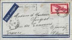 "(French Indochina) Air France weekly service between Hanoi and Marseille (diverted to avoid flying over Greece), Hanoi (Vietnam) to Epergne (France), bs 3/4, Marseille Gare transit cds, pale grey/dark blue framed envelope with imprint airmail etiquette, franked 36 Scott C9, canc Hanoi/Tonkin cds, scarce  boxed underlined ""Hanoi-Marseille"" Jusqu'a, used only from February to June 1935, see Collot et Cornu #A12. An early example of the new Hanoi-Bangkok-Marseille route which opened on 1/2/35. This cover experience a route diversion to avoid flying over Greece which was having political problems, and the two day delay in the flight time appears to confirm this. A cover with several interesting features."