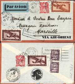 "(French Indochina) Air Orient weekly service between Saigon and Marseille, Hanoן to Marseille, bs 2/10, via Saigon 25/9, orange border/pale grey pre Air Orient company envelope with printed 'Via Air Orient' and company logo on flap blue/green/black imprint airmail etiquette, franked 72c Scott 124 (2), 154 (2) , C4 (2), C8 on front and back of cover, black framed ""Saigon-Marseille"" hand stamp used between 1931 and 1934, see McQueen p 33. One of the last flights of Air Orient before it was absorbed by Air France. Flights between Hanoן and Saןgon were irregular at this time and became weekly a few months later."