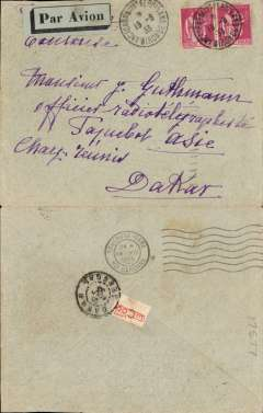 (France) Compagnie Gיnיrale Aיropostale (CGA) service from Toulouse and Marseille to Casablanca (Morocco) and Dakar (Senיgal), Arcachon to Dakar, bs 21/8, via Toulouse, 19/8 transit cds, plain cover franked 3F50 Scott 283 (pair), grey blue/black airmail etiquette.  Scarce with all the postmarks.