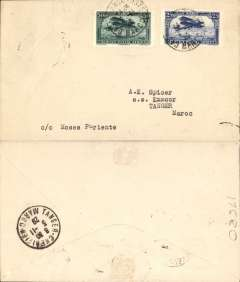 (Morocco) Compagnie Gיnיrale Aיropostale (CGA), early internal airmail from Casablanca to Tangier, bs 3/11, plain cover franked 75c Scott C2 + C3. Likely  flown from Casablanca to Rabat and then by surface to Tangier since this city was not a stop on the airmail route. An uncommon early internal airmail in particularly fine condition.