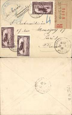 (Morocco) Compagnie Gיnיrale Aיropostale (CGA) service from Toulouse and Marseille to Casablanca (Morocco) and Dakar (Senיgal), Marrakech to Paris, no arrival ds, via Casablanca 25/5 transit cds, registered (Marrakech label) cover from a soldier serving with the 'Regiment de Tirailleurs Marocains', franked 80c air x3 Scott C6, canc Marrakech cds, large blue handstamp of  62e regiment de tirailleurs marocains. Tirailleurs was a term used by the French as a classification for infantry recruited in the various French colonial territories, particularly Algria and Senegal. Nice item.