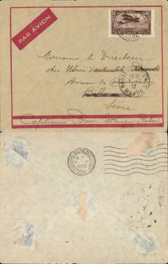 (Morocco) Compagnie Gיnיrale Aיropostale (CGA) service from Toulouse and Marseille to Casablanca (Morocco) and Dakar (Senיgal), Rabat to Billancourt (France), b/s June 6th, scarce cream/red framed envelope with red/cream imprint airmail etiquette, franked 80c Scott C6. Rabat is 50 mils NE Casablanca.