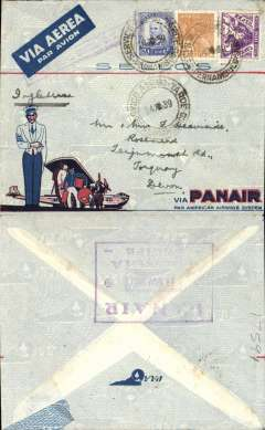 (Brazil) Panair/Pan American airmail service, Pernambuco to England, no arrival ds, attractive pre-printed and illustrated red/white/blue/pale grey PANAIR envelope with picture of the Commodore flying boat and steward (illustrated p93 Kriebel), franked 5800R, canc Pernambuco cds, pale purple boxed cachet ?By airmail until USA? Jusqu'a, large violet framed Panair/14 Nov 1939 hs verso. Closed non invasive 1cm top edge tear, not visible from front, small flap loss verso.