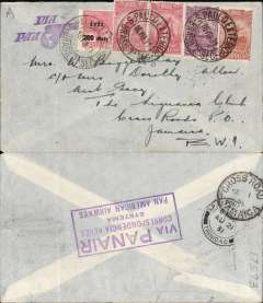 "(Brazil) Panair/Pan Am, Sao Paulo to Jamaica, bs Cross Roads 1/9, via Port-of-Spain, 21/8 transit cds, airmail cover franked 3500R, canc Sao Paulo Exterior cds, nice strike violet winged ""Via PAA"" cachet (illustrated p91 Kriebel), verso large boxed purple cachet ?Via PANAIR Correspondencia Aerea Systema Pan American Airways? (illustrated p93 Kriebel). This cover was flown 3500 miles by Panair and Pan Am to Trinidad, was then likely carried the final 1100 miles to Jamaica by ship. Interesting destination. Ironed vertical crease."
